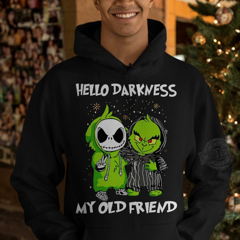 Baby Grinch And Jack Skellington Hello Darkness My Old Friend Shirt
