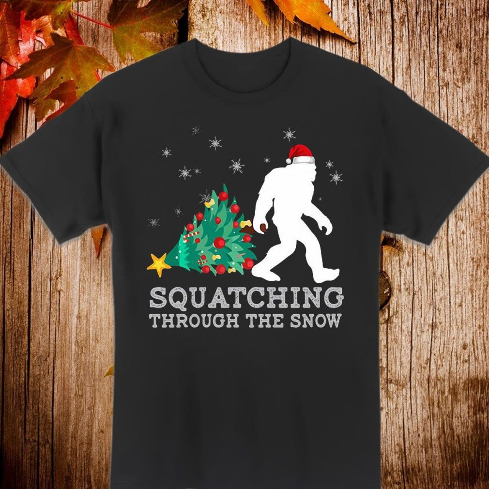 Bigfoot santa squatching through the snow Shirt