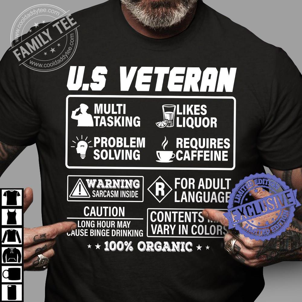 Us veteran multi tasking likes liquor problem solving requires caffeine shirt